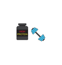 Protein powder with dumbbel solid icon vector
