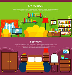 Room interior banners set vector