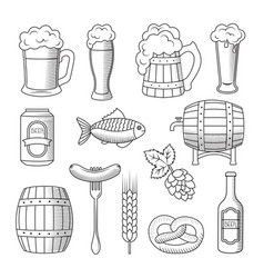 Set of beer icons isolated on white background vector