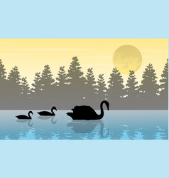 Silhouette of swan and tree vector
