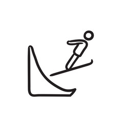 Ski jumping sketch icon vector
