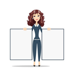 smiling marketing manager holds big white poster vector image vector image
