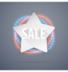 Star sale banner with neon decorations vector