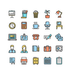 symbol office work color thin line icon set vector image