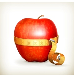 Tape measurement and apple vector image