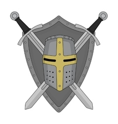 Two crossed swords shield and helmet heraldry vector