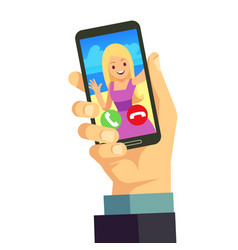 Video call with young happy woman using smartphone vector