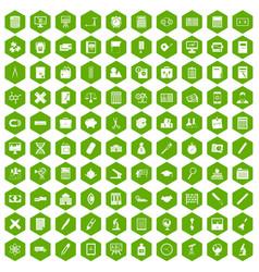 100 calculator icons hexagon green vector
