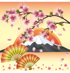 Japanese background with sakura blossom Japanese vector image