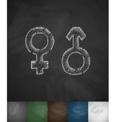 female male icon Hand drawn vector image