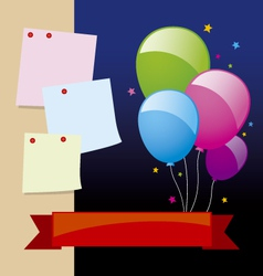 Balloon and note pad design vector