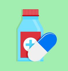 Medical medicine bottle and capsule vector