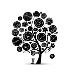Sewing crafts art tree sketch for your design vector