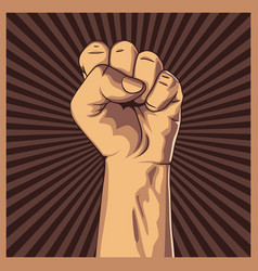 Clenched fist held high in protest background vector