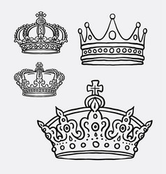 crown the king symbol hand drawing style vector image