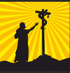 moses in the desert and the brazen serpent vector image
