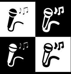 microphone sign with music notes  black vector image