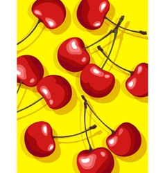 Cherries on yellow vector