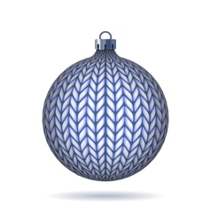 Blue Knitted Christmas Ball vector image
