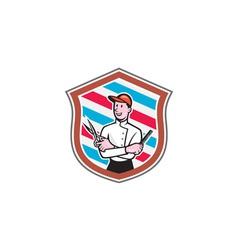 Barber Holding Scissors Comb Shield Cartoon vector image