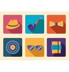 Hipster icon accessories vector