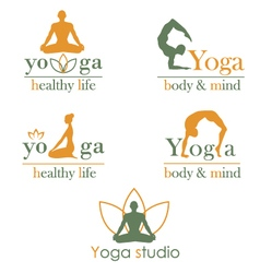 Logos for yoga studio vector