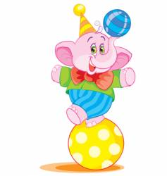 Elephant on ball vector