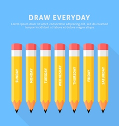 Seven pencils for everyday vector