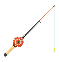 Flat style winter fishing rod vector