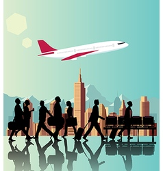 Silhouette people on airport background vector