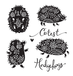 Set of cutest hedgehogs with flowers vector