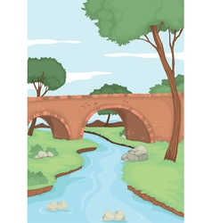 A red bridge in nature vector