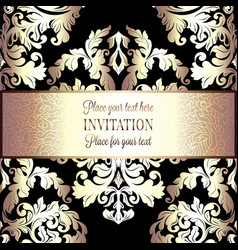 baroque background with vintage frame vector image