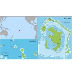 Bora bora map vector image vector image