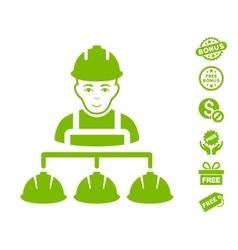 Builder management icon with free bonus vector