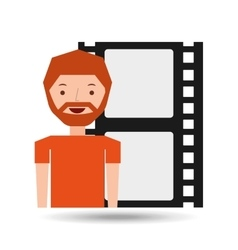 Cartoon man icon film strip cinema graphic vector