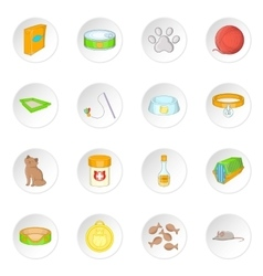 Cats accessories icons set vector