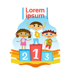 Children group standing on pedestal getting prizes vector