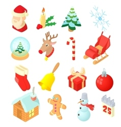 Christmas icons set isometric 3d style vector image vector image
