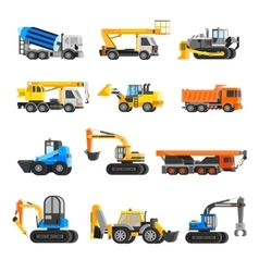 Construction Machines Icons Set vector image vector image