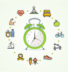 daily routines fittness concept healthy life vector image