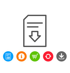 Download document line icon file sign vector