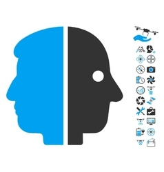 Dual face icon with copter tools bonus vector