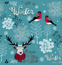 endless background with deer birds and winter vector image vector image
