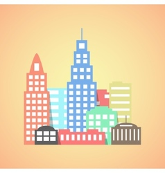 flat style city on orange background vector image vector image