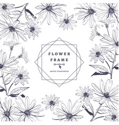 floral frame painted flowers hand-drawn vector image