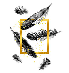 Golden frame and hand drawn feathers vector