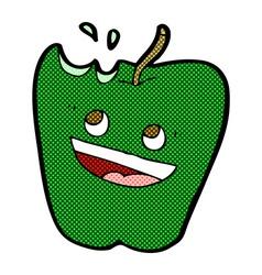 Happy apple comic cartoon vector