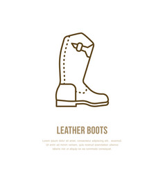 leather boots line logo flat sign for polo vector image