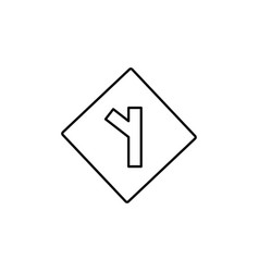 Left intersection road sign icon vector